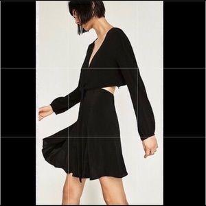 Zara Black Open Back Wrap Dress, SZ M
